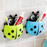 Wholesale Ladybug Toothbrush Holder Suction Ladybird Toothpaste Wall Sucker Bathroom Sets Christmas Gift LRU