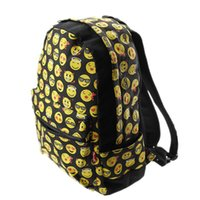 Wholesale 50pcs DHL Hotest Women Canvas Emoji Backpacks Smiley Emoji Face Printing Schoolbag Cartoon Student bags for Children Kids Womens EMJ018