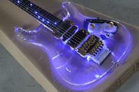 Wholesale New fEGEN Herman Li Plexiglas acrylic electric guitar fretboard with LED blue lights