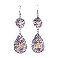 cloisonne earrings - Vintage Bohemian Dangle Earrings Silver Chandelier Earrings Multi Color Resin Beaded Enamel Long Earrings for Women ER152538