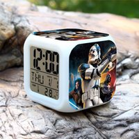Wholesale Home Star Wars LED Color Changable Thermometer Calendars Digital Alarm Clocks Yoda Despertador Star Wars Figure Anime Table Clock