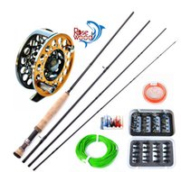 Wholesale 2015 New Best Cheap m Fly Fishing Rods and Reel High Carbon Rods Full Metal Discount Fly Fishing Reel Free Ship