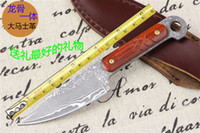 Wholesale 2015 New listing Damascus steel straight knife camping survival knife tactical hunting knife outdoor tool HK