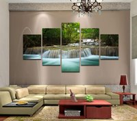 beautiful waterfalls - 5 Panels Huge HD Beautiful Green Waterfall Top rated Canvas Print For Living Room Wall Art Picture Painting Artwork Unframed