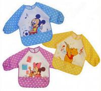 baby bibs long sleeves - Cute Cartoon Children Baby Waterproof Long Sleeve Bib Apron for baby self feeding