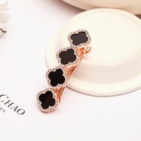 Wholesale 2015 summer style fashion wedding hair accessories rhinestone four leaf clover clip for hair women girl hairpin barrette
