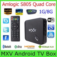 Cheap 2015 MXV Amlogic S805 Quad Core Android 4.4 TV BOX 1G 8G Cortex 1.5GHZ WIFI Bluetooth H.265 Smart Media Player XBMC KODI Updated MXQ 10PCS