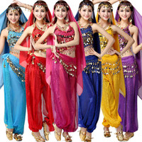 belly costumes - 4pcs Sets Set India Egypt Egyptian Halloween Belly Dance Costumes Bollywood Costumes Indian Dress Bellydance Wear Dress Womens Belly Dancing