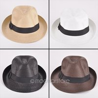 Wholesale Hot Sale Fashion Womens Mens Unisex Fedora Trilby Gangster Cap Summer Beach Sun Straw Panama Hat Couples Lovers Hat MPJ103 M1