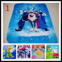 Wholesale 3D Cartoon Frozen Elsa Anna Olaf Princess blanket Peppa Pig Spider Man Cars polar fleece carpet mat the gift for children Kid baby mix style