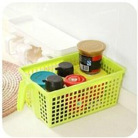 plastic basket - PlastStorage basket Multifunctional Storage basket with handle plastic Drain vegetables basket of food books desktop storage cupboard basket