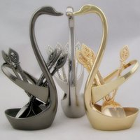 Wholesale Stainless Steel Gold Silver Plated Table Decoration Set Fruits Forks Swan Stands Desert Spoons Wedding Gift
