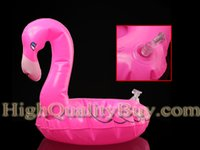 Wholesale Flamingo Inflatable Floating Can Holder Toy Coaster Luau Tropical Party Favors Pink New