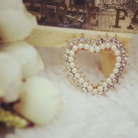 Wholesale 10pcs Fashion Zircon imitation Diamond Jewelry floating charms Heart pearl Gold Plated charm Bracelet For Women diy Accessories