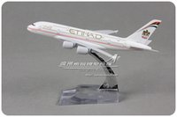 Others airlines airbus - cm Alloy Metal Air Etihad Airlines Plane Model Airbus A380 Airplane Model with Stand Toy Decoration Gift