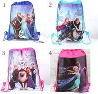 Wholesale 24pcs New arrival frozen ice princess woven double sided printing foreign trade Drawstring Backpacks Drawstring bags size cm cm