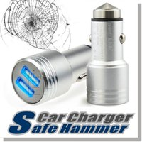 adapter usb - Safty Hammer Auto Universal Metal Dual Port USB Car Charger V A Mini Car Charger Adapter Emergency Hammer For iPhone Samsung