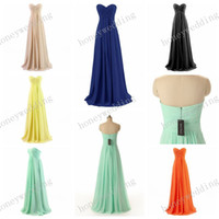 Wholesale Stock Sheath Chiffon Bridesmaid Dresses Cheap Sweetheart Pleated Light Royal Blue Long Prom Wedding Party Dress Bridesmaids Dress