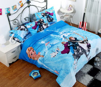 Wholesale 3D Reactive printing blue frozen pure cotton three piece cartoon anime Children s bedding bag sheets pillow cases Bedding Supplies yzs168