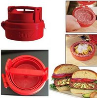 Wholesale New Red Cooking Tools Silicone Hamburger Press Burger Maker Barbecue Household Kitchen