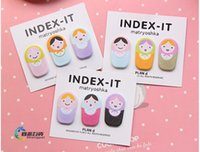 cute doll - 50sets Cute Fun Matryoshka Doll Sticker Post It Bookmark Marker Memo Flags Sticky Notes