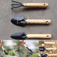 Wholesale 1 Set New Gardening Wooden Handl Metal Rake Shovel Digging Trowel Garden Tools