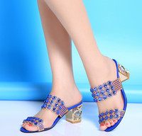 Wholesale HOT new European and American Roman style women diamond sandal fashion high heels sandals womens Slippers women shoes slipper C2281S
