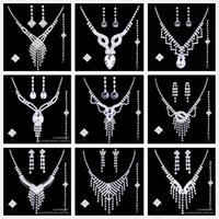 Wholesale Crystal Bridal Jewelry Wedding Accessories Sets Pieces Silver In Stock Rhinestone Wedding Dress Necklace Earings