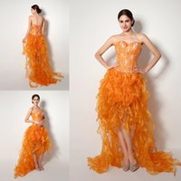 Wholesale 2015 Designer High Low Prom Dresses In Stock Cheap Seetheart Crystal Fish Boning Ruched Orange Organza Party Gowns Sexy Bandage Dresses