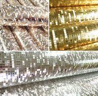 glitter wallpaper - 10 meter Luxury glitter mosaic wallpaper background wall wallpaper gold foil wallpaper silver ceiling wallcovering