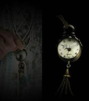 Cheap Retro Vintage Bronze Quartz Ball Glass Pocket Watch Necklace Chain Steampunk 5pcs lot free ship