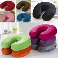 Wholesale 2015 Memory Foam Neck Support U Shaped Rest Car Travel Comfort Pillow Solid Colors