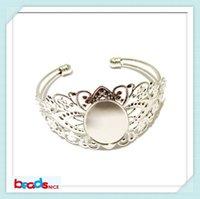 Wholesale Beadsnice unique Brass Bracelet blanks antique brass x18mm Bangles Bracelet Base settings for jewelry making ID24913