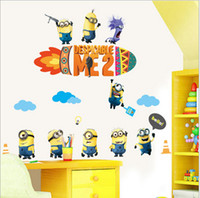 best wallpaper living rooms - 2015 D cartoon Minions Rocket wall stickers Despicable Me Minion Removable wallpaper kids Nursery children Peel And Stick Wall Decals best