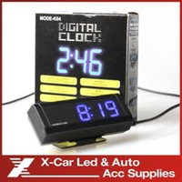 Wholesale No battery Fashionable Car LCD Digital blue backlight Automotive Clock Calendar with Clip freeshipping