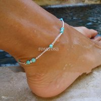 Wholesale Turquoise Beads Silver Chain Anklet sterling silver Ankle Bracelet Foot Jewelry for women