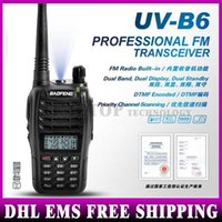 Wholesale 40PCS Beofeng Walkie Talkie UV B6 W CH UHF MHz VHF MHz Two way Radio FM HOT Black Fshow