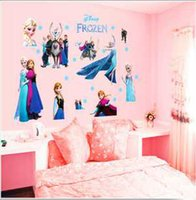 Wholesale Frozen Princess stickers cm girl s room cartoon sticker Christmas Decorative Frozen Wall Stickers third removed wall stickers retail
