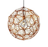 Wholesale Moden Tom dixon New brass Etch web pendant light Creative Diamond Pendant Lamp Hollow LED chandeliers V V