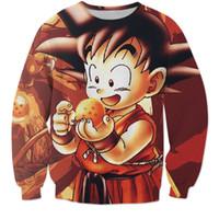 anime jumpers - w1223 New Fashion Cute Kid Goku Sweatshirt DBZ Hoodie Women Men Autumn Outerwear Jumper Anime Dragon Ball Z D Hoodies Pullovers