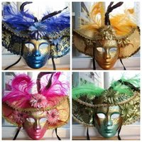 Wholesale Easter Masquerade Carnival Color Feather Mask Red Blue Green Yellow Luxury hand Painted Venetian Upscale Full Face Mask