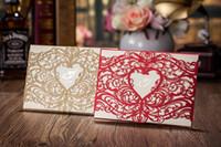 Wholesale Chic Golden Laser Cut Heart Shape Free Customized Printing Wedding Invitation Cards