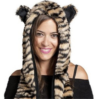 Cheap Wholesale-Winter Faux Fur Hood Animal Hoods Hat Cap Cartoon Hat And Scarf Set For Women Warm Caps Beanies Cartoon Skunk Panda Wolf Hat
