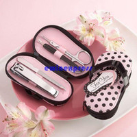 Wholesale 4 in Pink Polka Dots Slipper Manicure Pedicure Set Novelty Xmas Wedding Gift Tool Kit