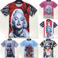 Cheap Raisevern sexy star pinup girl Marilyn monroe t shirt 3D rose flag ballon funny T-shirt for men women casual tshirt clothing FG1510