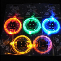 Wholesale 200pair LED Flashing Shoelace Fiber Optic Glowing Shoe Laces Dance Ice Skating Light Up Luminous Shoelaces With Retail Package