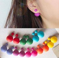 stud earring lot - Double Sided Stud Earring Front Back Reversible Charm Earrings Faux Pearl Matt Surface Fashion Jewelry For Women Pair Colors