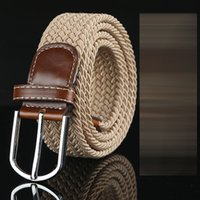 belt webbing wholesale - DHL new colors Mens Womens Canvas Plain Webbing Metal Buckle Woven Stretch Waist Belt canvas Braided Belts good qulity C281