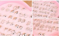 Wholesale 36 pairs mixed high grade Silver plating gold Silver Earrings Han edition fashion jewelry earring Personality stud Earrings