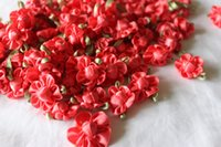red ribbon rose - 100pcs Red Rose Satin Ribbon Flower Appliques Hair Bow